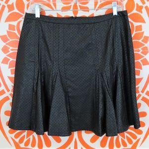 "Renvy Black Fit & Flare ""Leather"" Mini Skirt L"